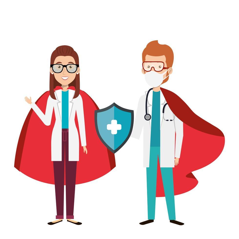 läkare som bär ansiktsmasker som superhjältar vektor