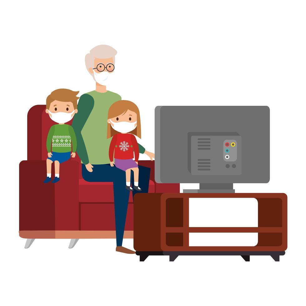 stanna hemma kampanj med familjen tittar på tv vektor