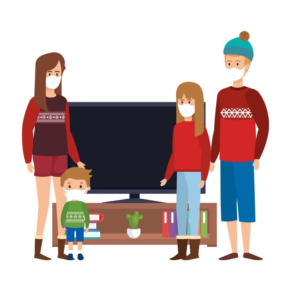 Kampagne zu Hause bleiben mit der Familie fernsehen vektor