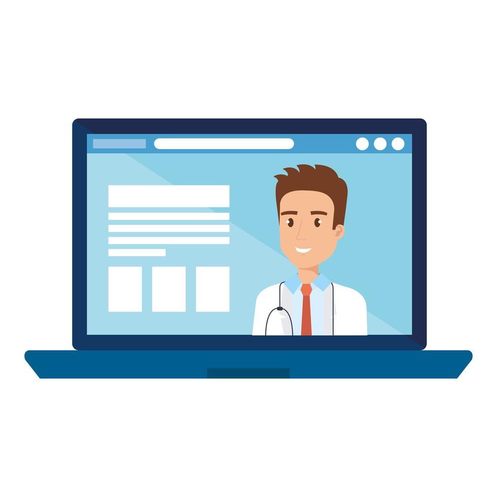 online-medicin med läkare på den bärbara datorn vektor