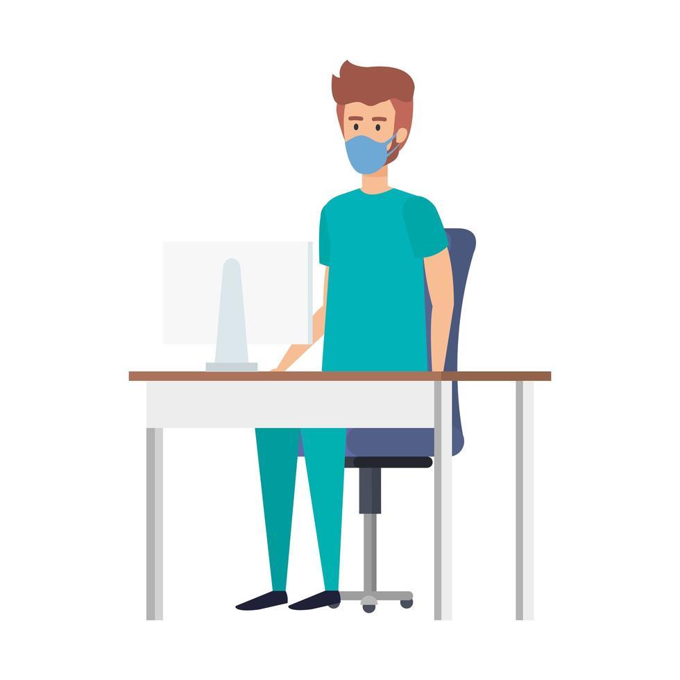 manlig sjuksköterska på skrivbordet som bär en ansiktsmask vektor