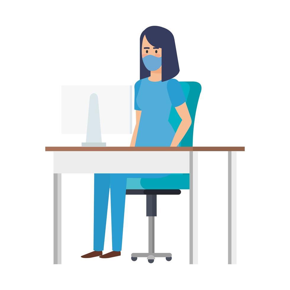 kvinnlig sjuksköterska på skrivbordet som bär en ansiktsmask vektor