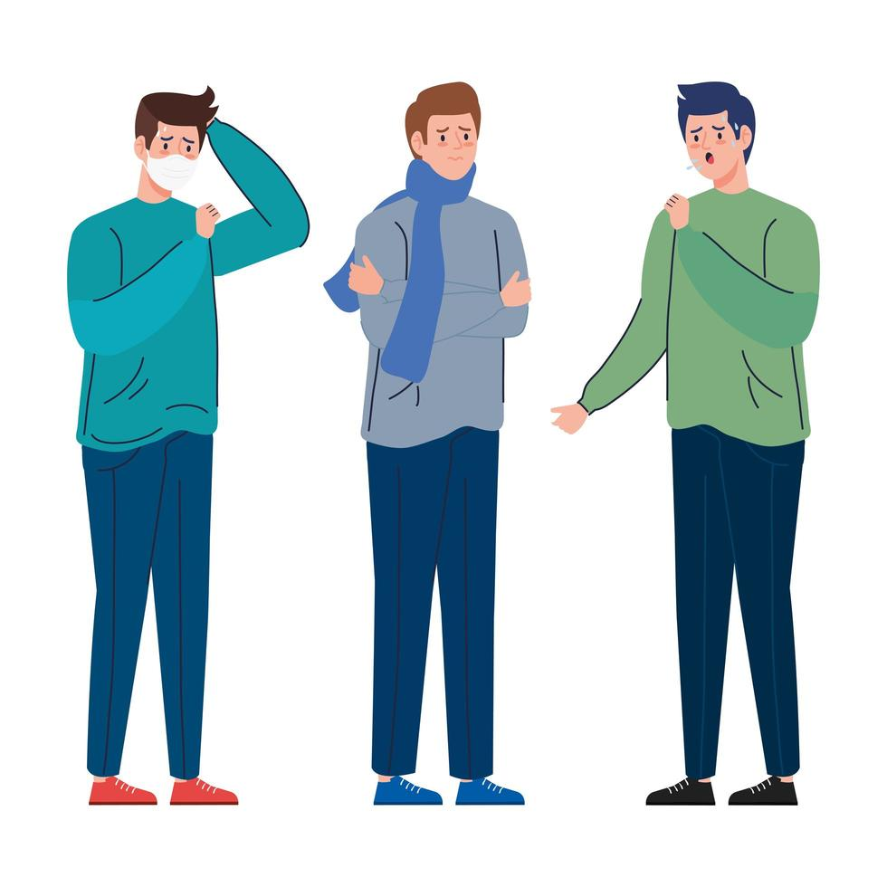 Männer mit Coronavirus-Symptomen vektor