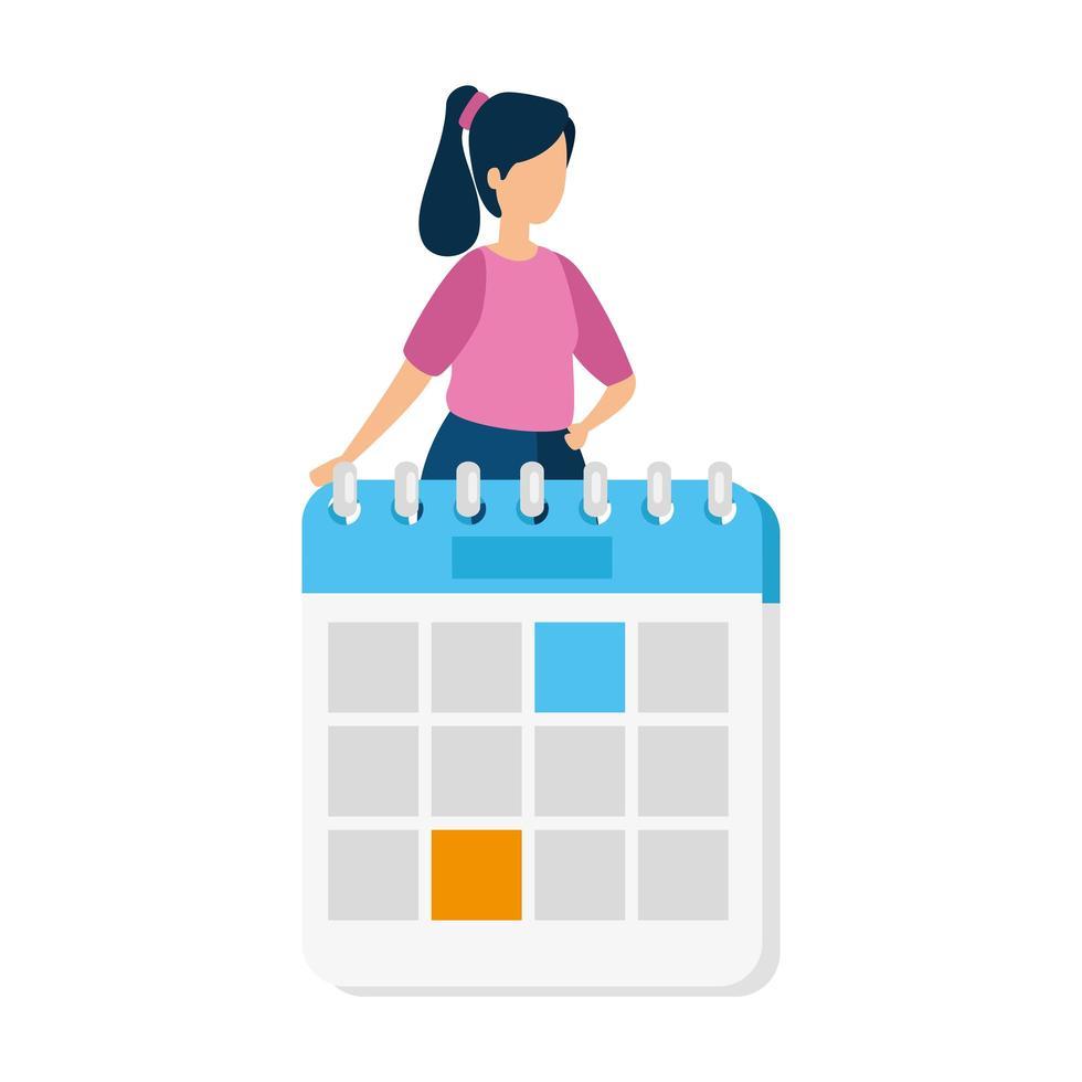 kvinna med en kalender vektor
