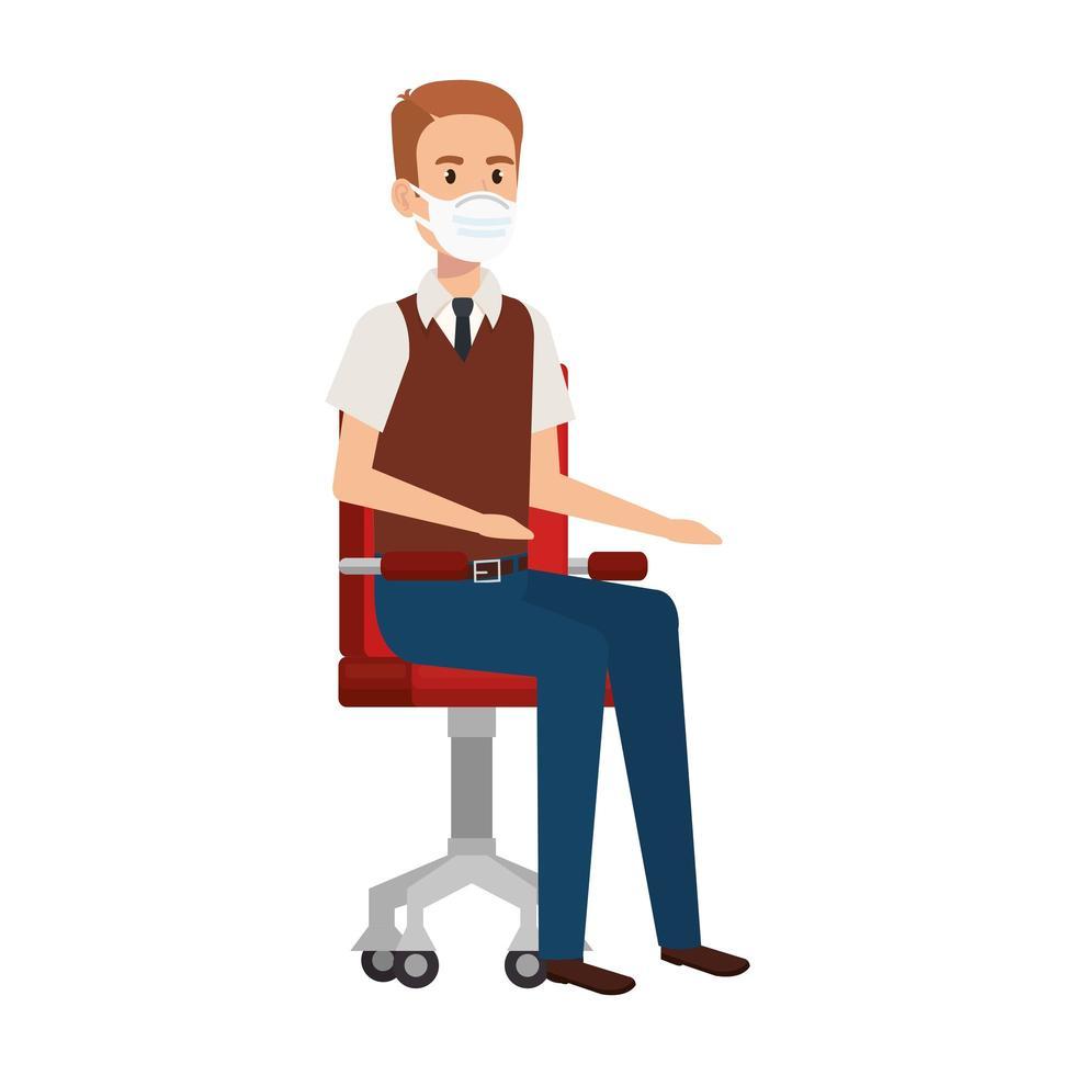 affärsman med en ansiktsmask som sitter på stolen vektor