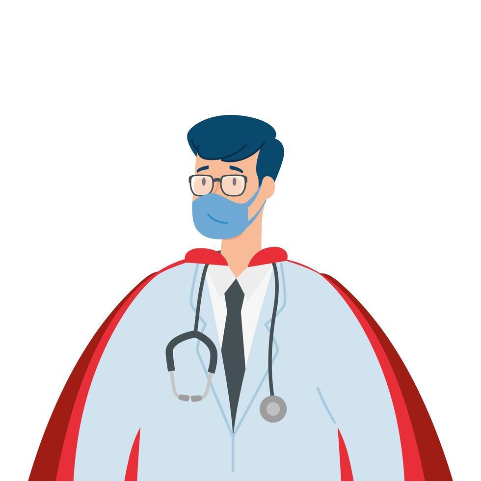 manlig läkare som bär en ansiktsmask som en superhjälte vektor