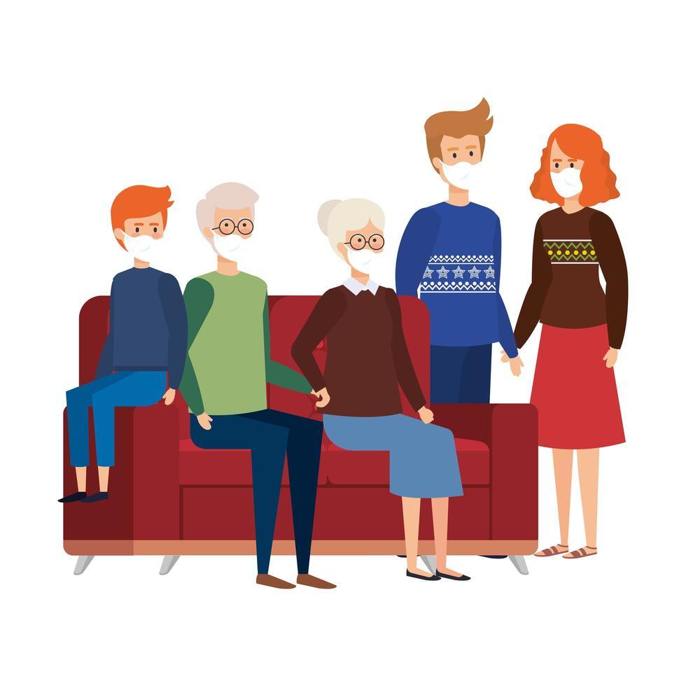 bo hemma kampanj med familjen i vardagsrummet vektor
