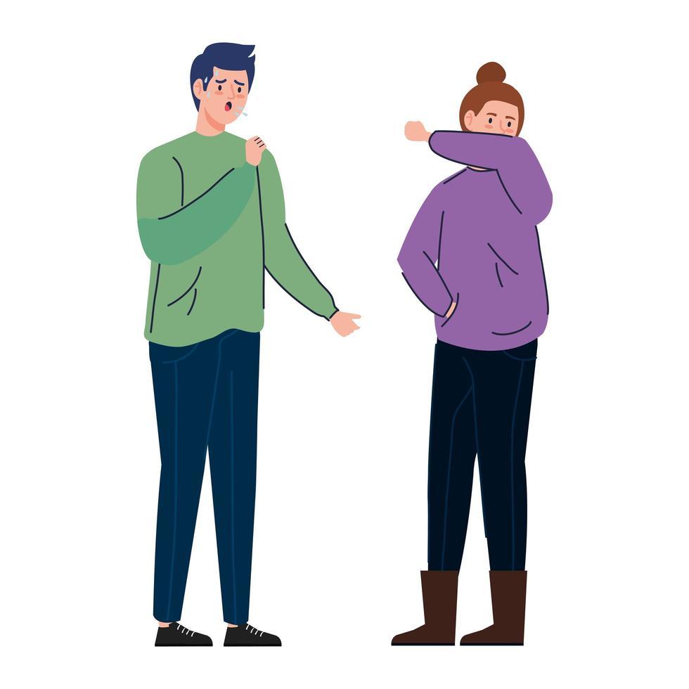 Paar mit Coronavirus-Symptomen vektor