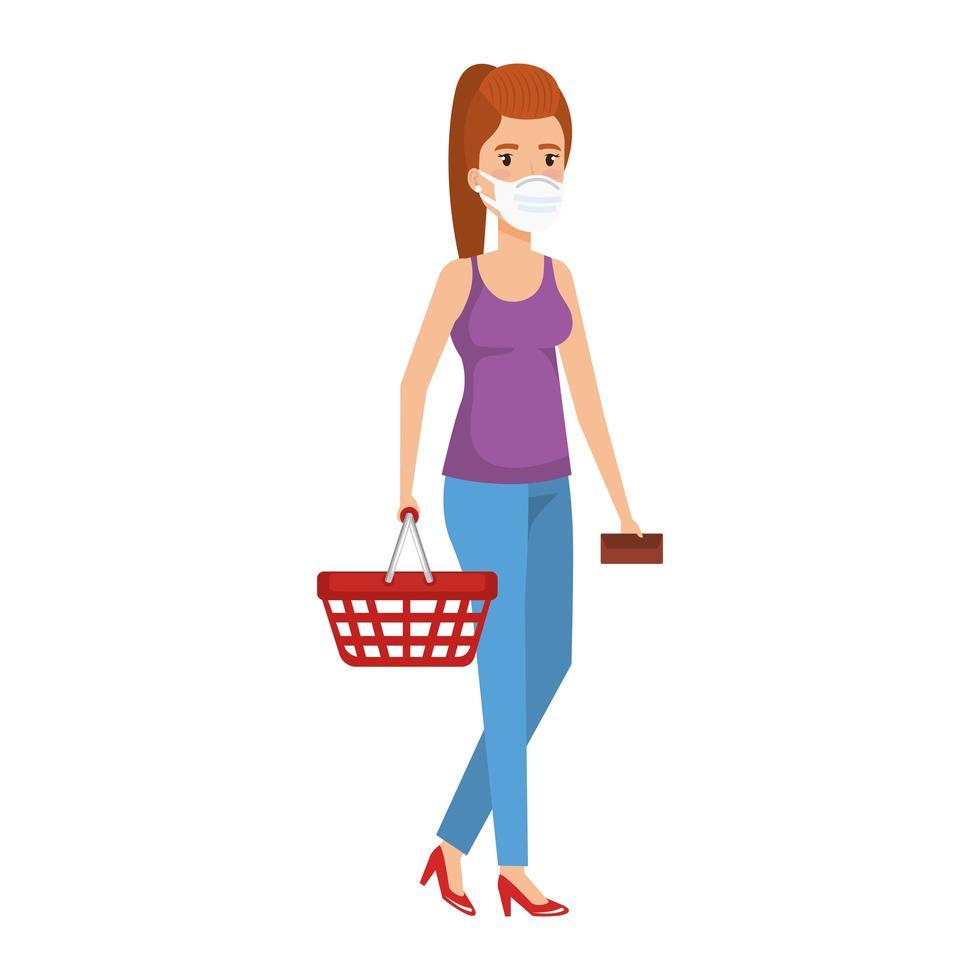 ung kvinna med shoppingkorg och ansiktsmask vektor