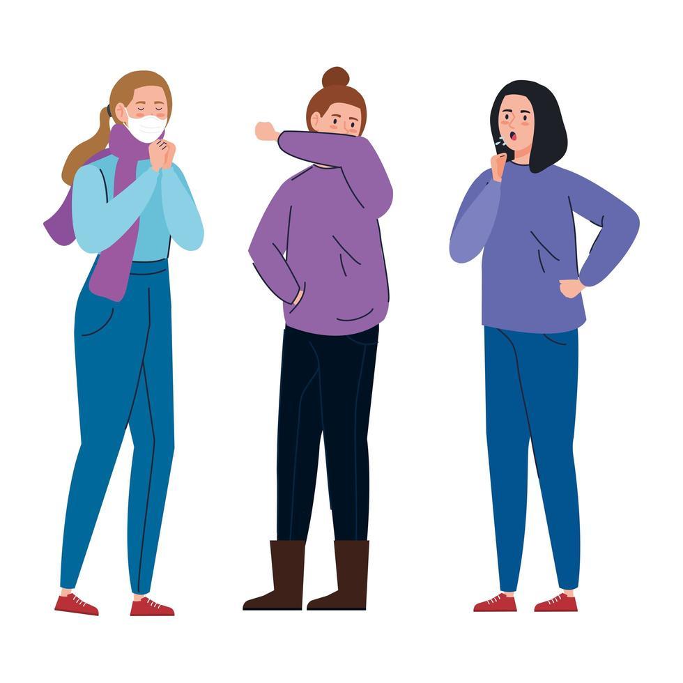 kvinnor med coronavirus symptom vektor