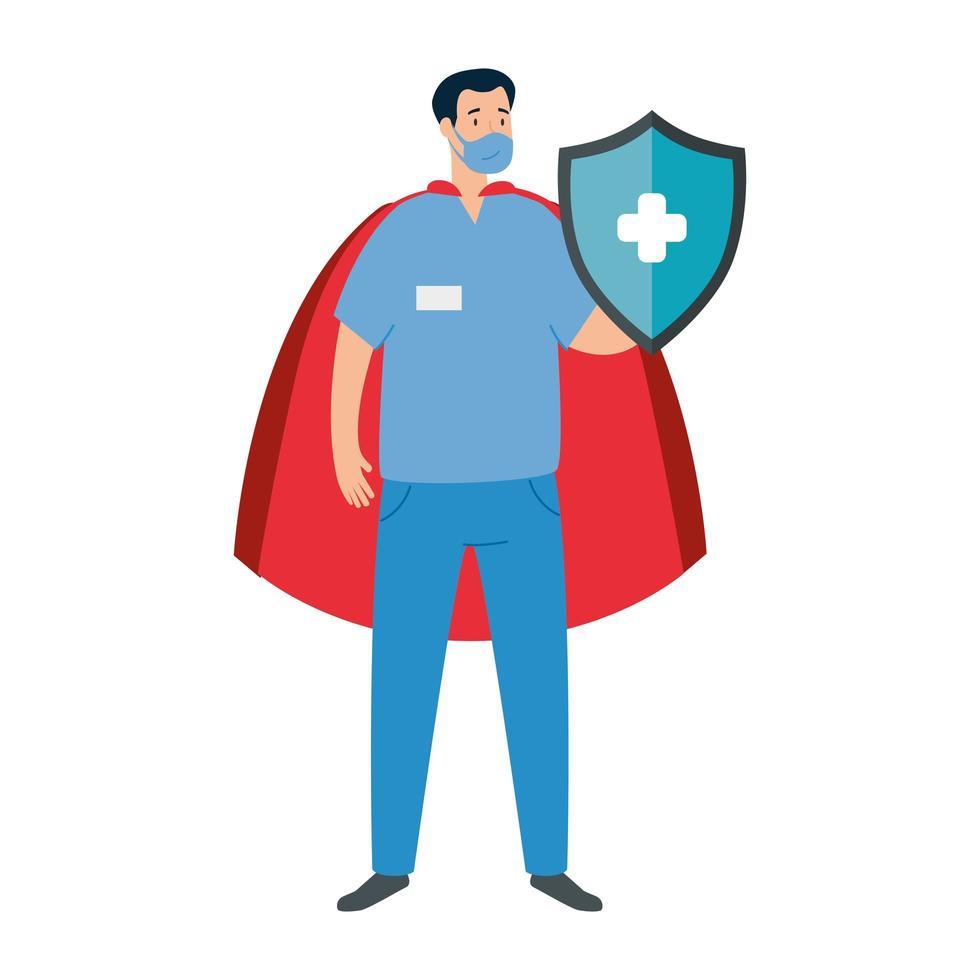 manlig sjukvårdare som en superhjälte vektor