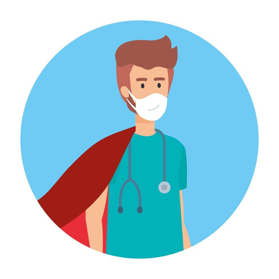manlig sjuksköterska som bär en ansiktsmask som en superhjälte vektor
