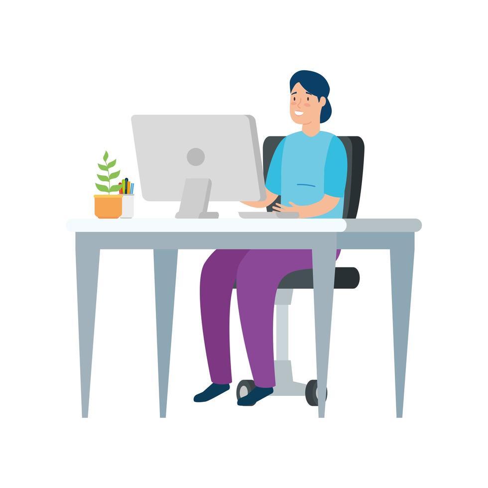 Frau arbeitet an ihrem Schreibtisch vektor