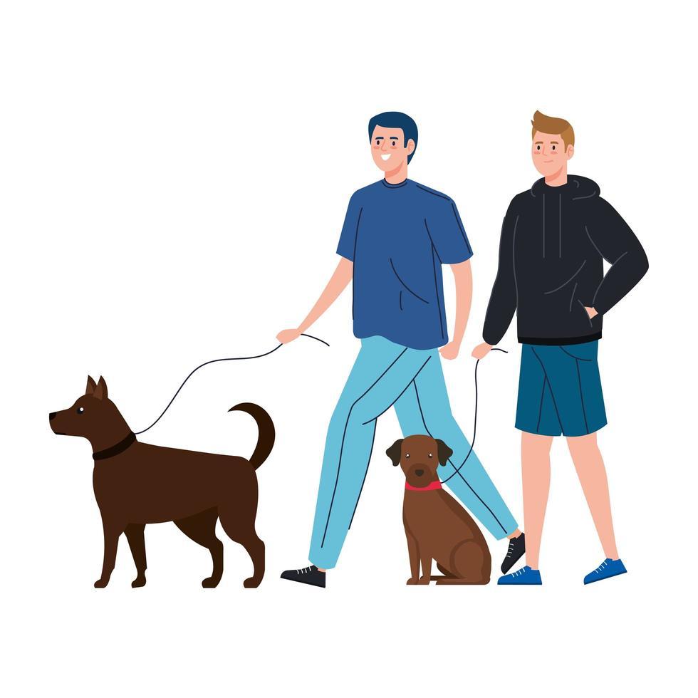Männer gehen mit ihren Hunden zusammen vektor