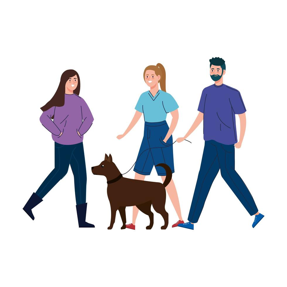 Leute, die zusammen mit dem Hund spazieren gehen vektor