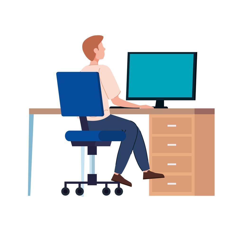 man som arbetar på sin arbetsplats vektor
