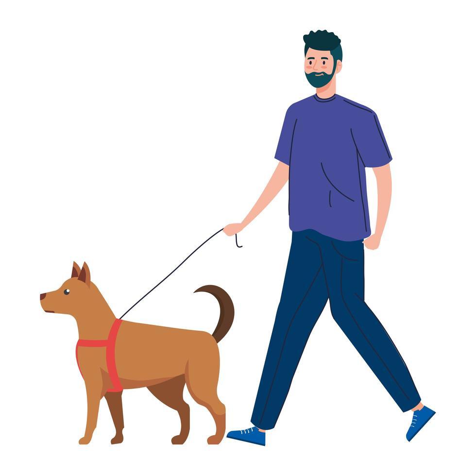 Mann geht mit dem Hund spazieren vektor