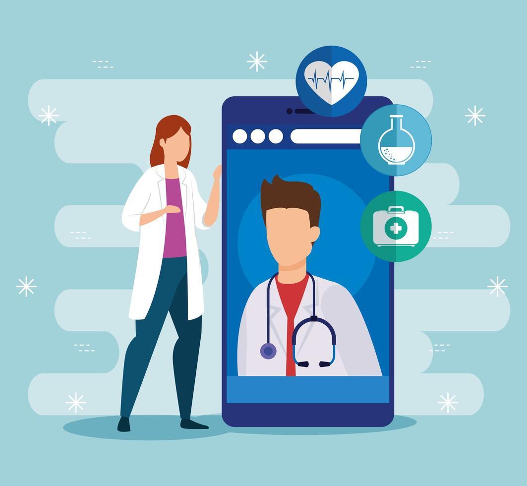 medicinteknik online med läkare och smartphone vektor