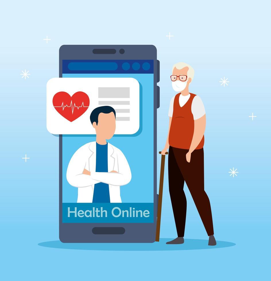 medicin online-teknik med smartphone och äldre medborgare vektor