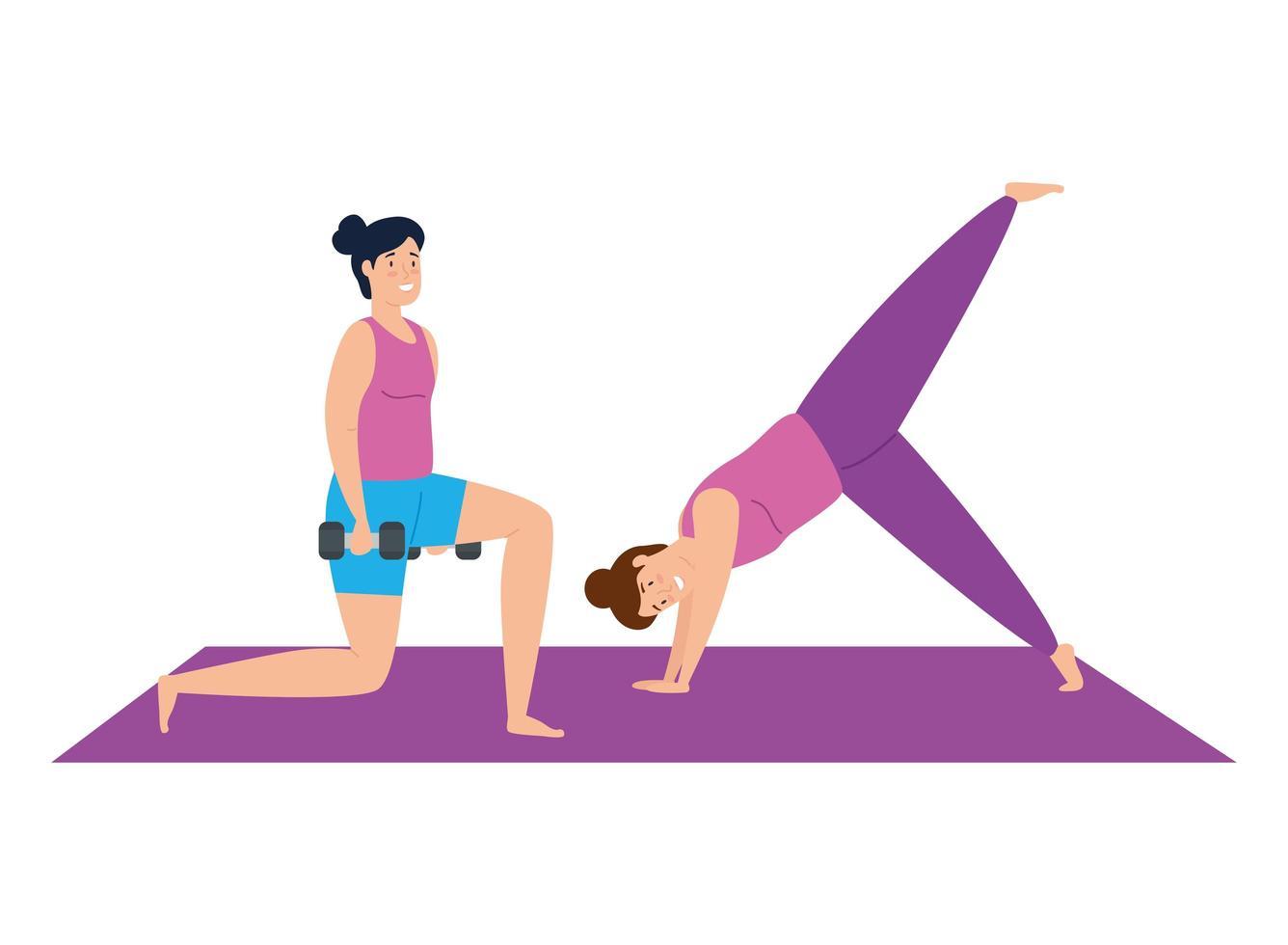 kvinnor som tränar och gör yoga tillsammans vektor