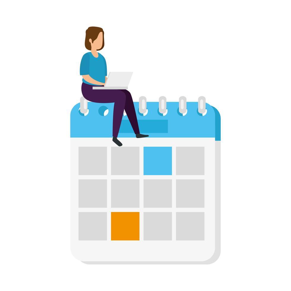 kvinna med en bärbar dator sitter på en kalender vektor