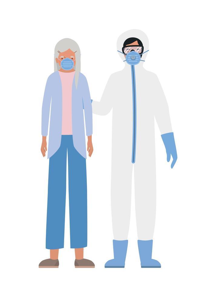 äldre kvinna med mask och läkare med skyddsdräkt mot covid 19-design vektor