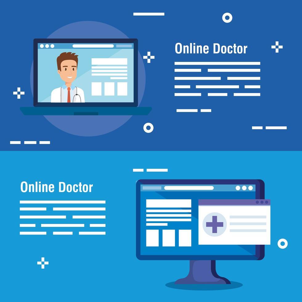 ställa online medicin affischer vektor
