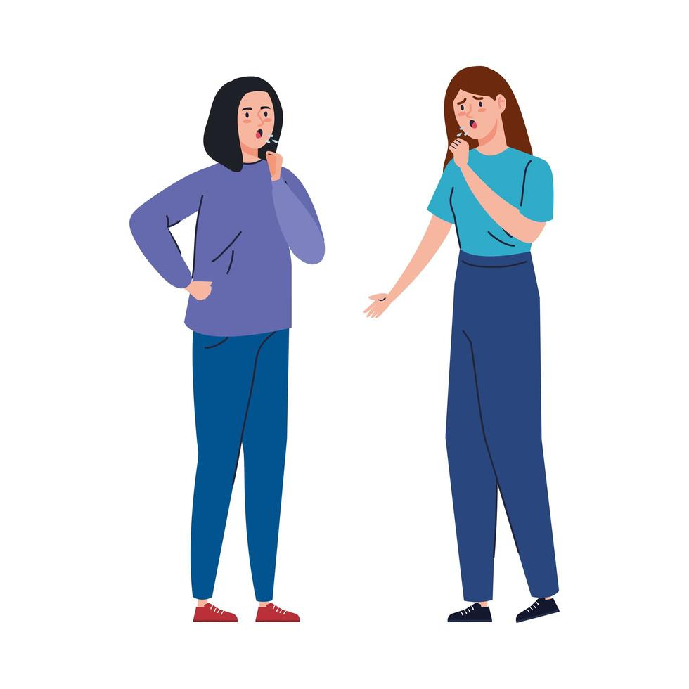 Frauen mit Coronavirus-Symptomen vektor