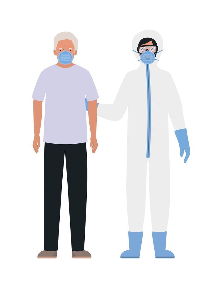 äldre man med mask och läkare med skyddskläder mot covid 19-design vektor
