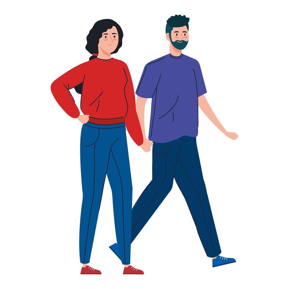 ungt par som går tillsammans vektor