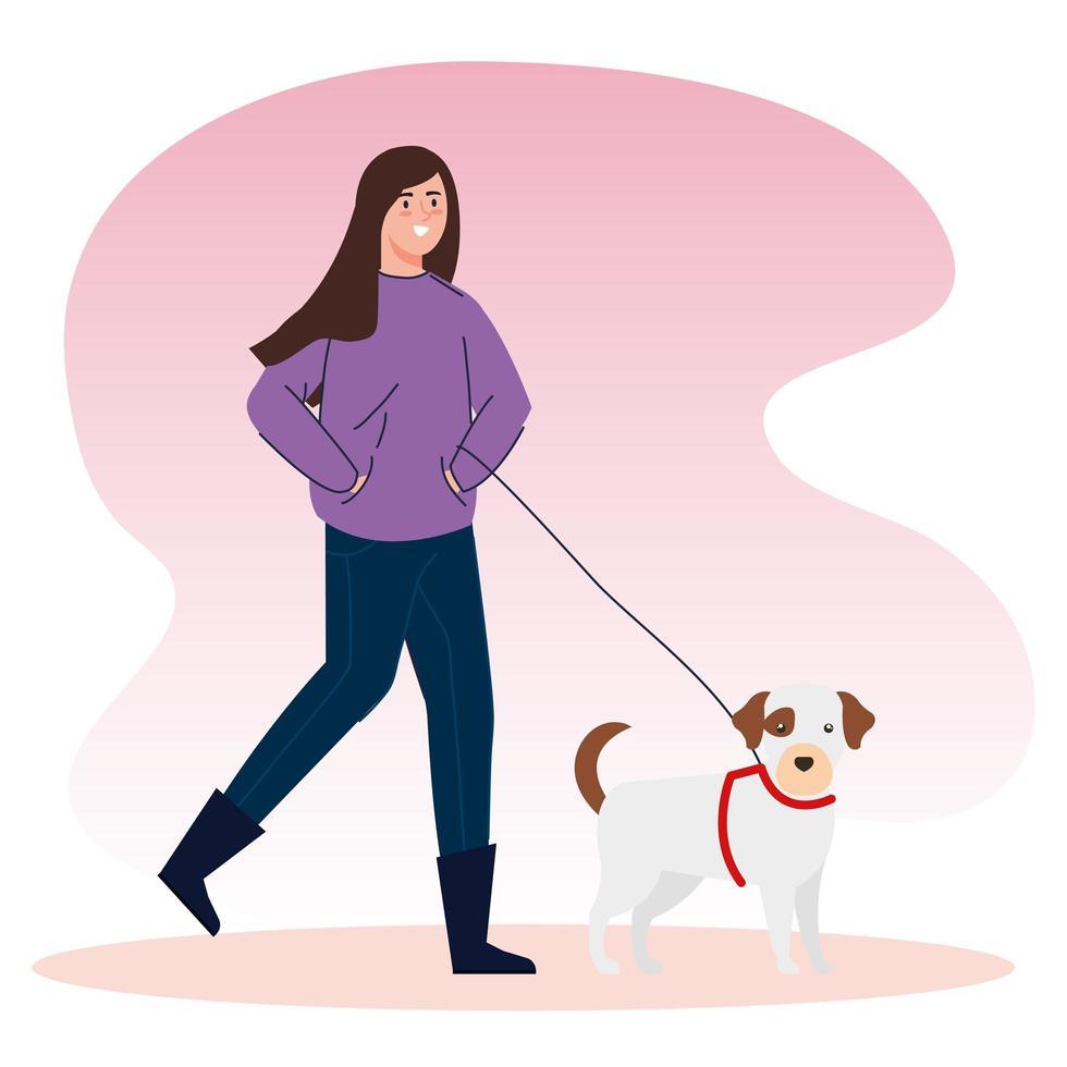 Frau geht mit dem Hund spazieren vektor