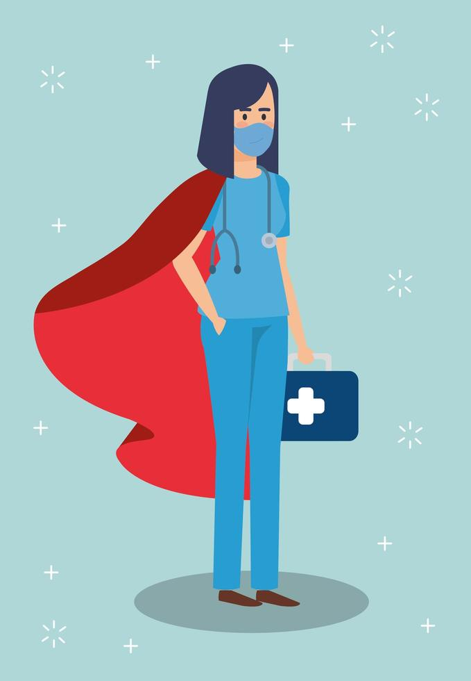 kvinnlig sjukvårdare som en superhjälte vektor