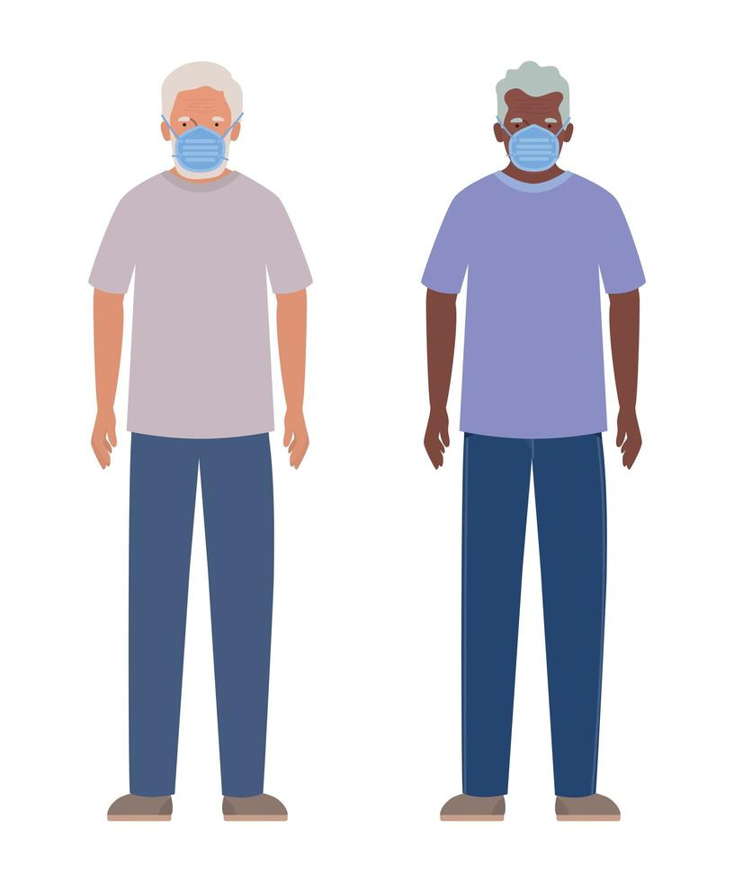 äldre män med masker mot covid 19-design vektor