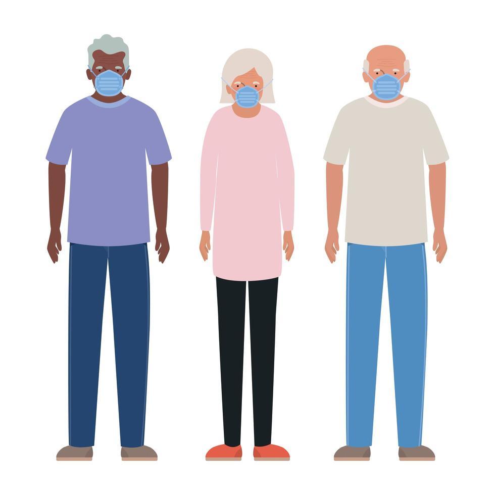 äldre män och kvinna med masker mot covid 19 vektordesign vektor