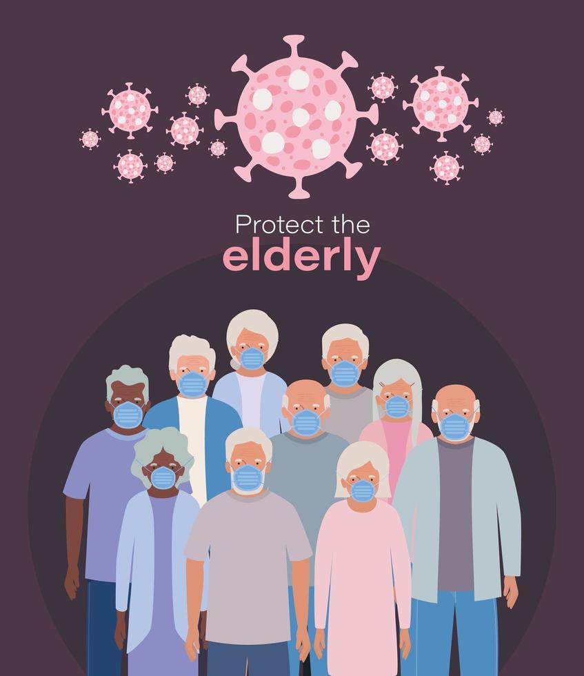 äldre kvinnor och män med masker mot covid 19-design vektor