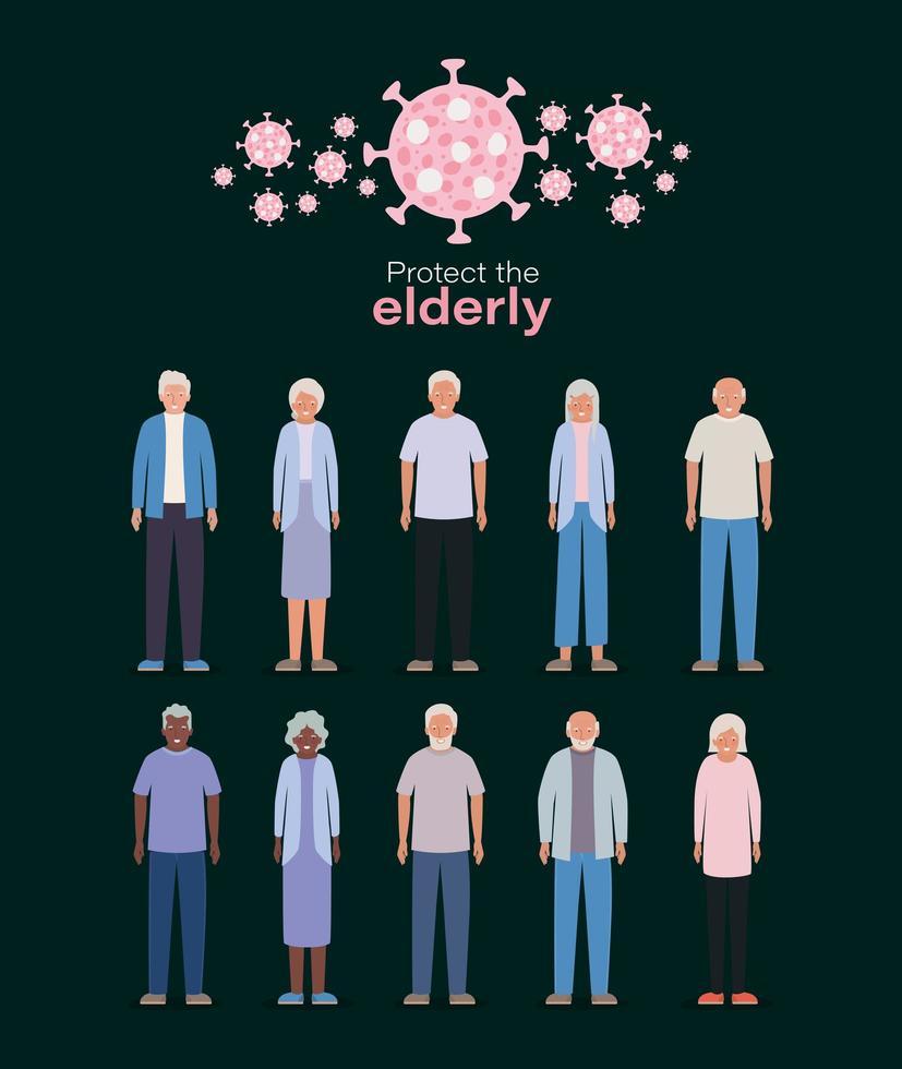 äldre kvinnor och män mot covid 19 vektordesign vektor