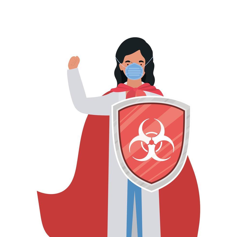 Ärztin Held mit Umhang und Schild gegen 2019 ncov Virus Vektor-Design vektor