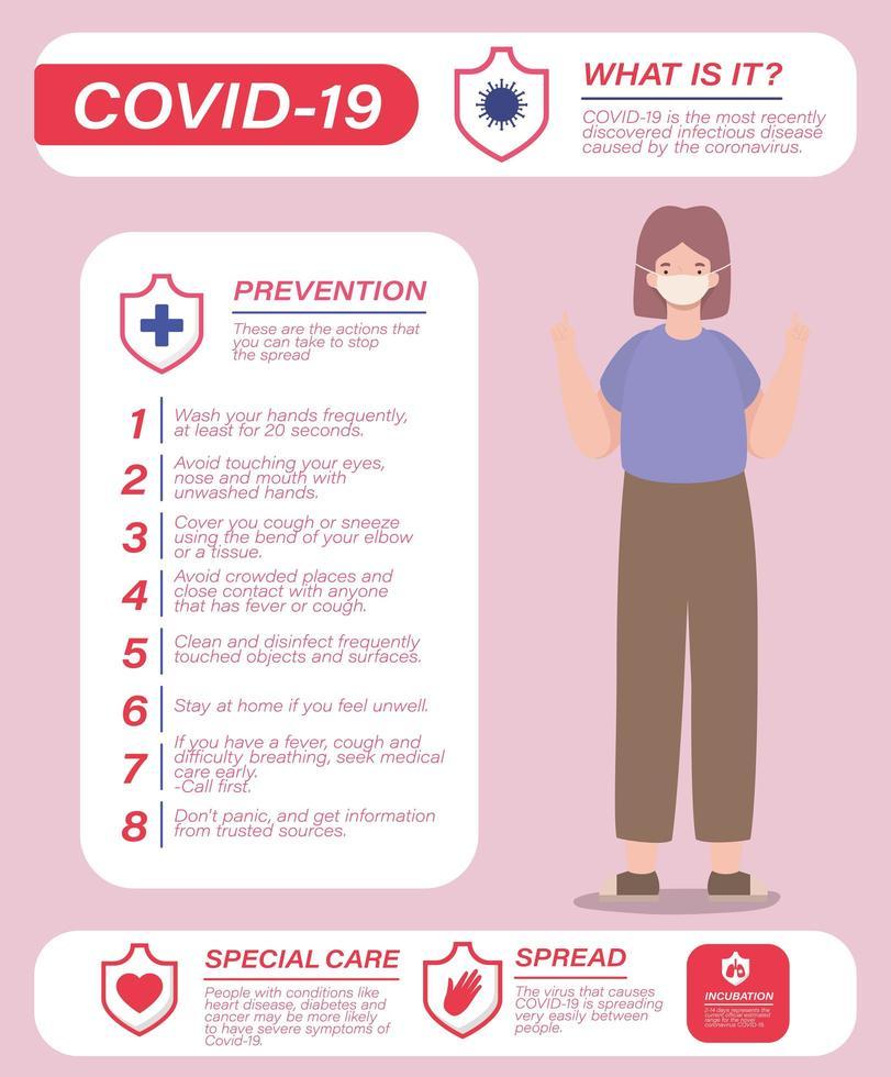 covid 19 Viruspräventionstipps und Frauenavatar mit Maskenvektordesign vektor