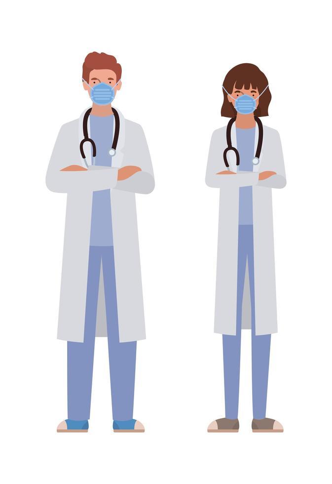 Mann und Frau Ärzte mit Masken gegen 2019 ncov Virus Vektor-Design vektor