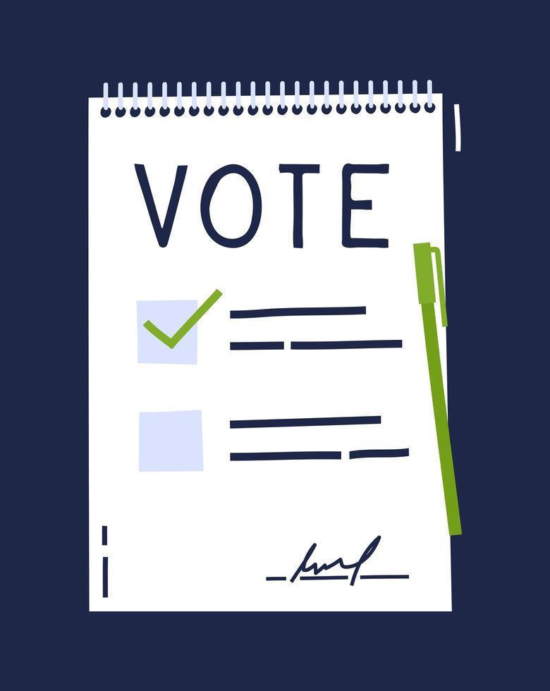 röstdokument bulletin koncept. söt tecknad lista, val av alternativ och penna. röstningsval val koncept. doodle handritad stil. vektor färgad illustration för affisch, kort och webb.