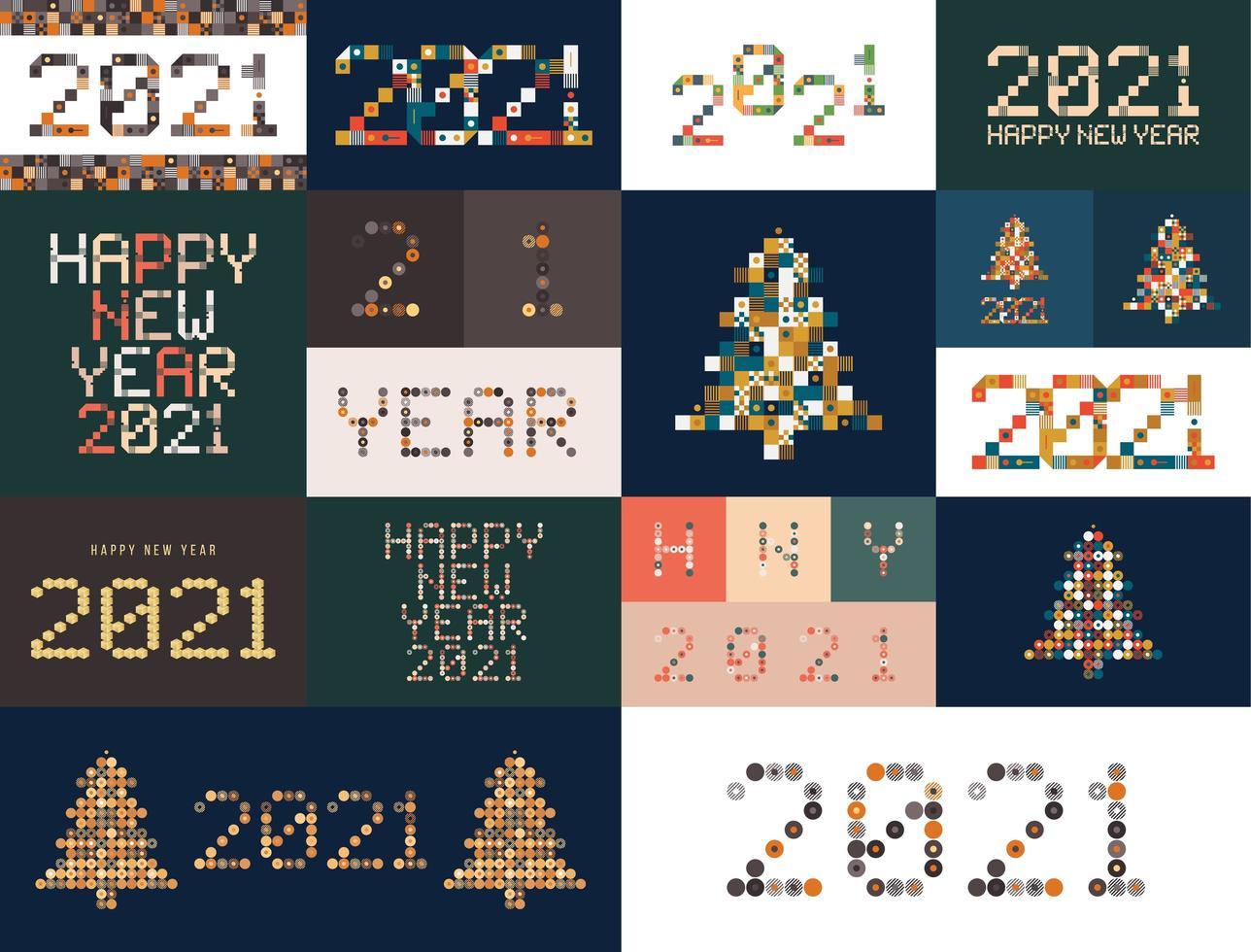 verschiedene ungewöhnliche Zeichen des neuen Jahres gesetzt für Ereignisdekoration 2021, niedliche Grafik, kreatives Emblemkonzept für Banner, Broschüre, Flyer, Kalender, Grußkarte, Ereigniseinladung. isoliertes Vektorlogotyp. vektor