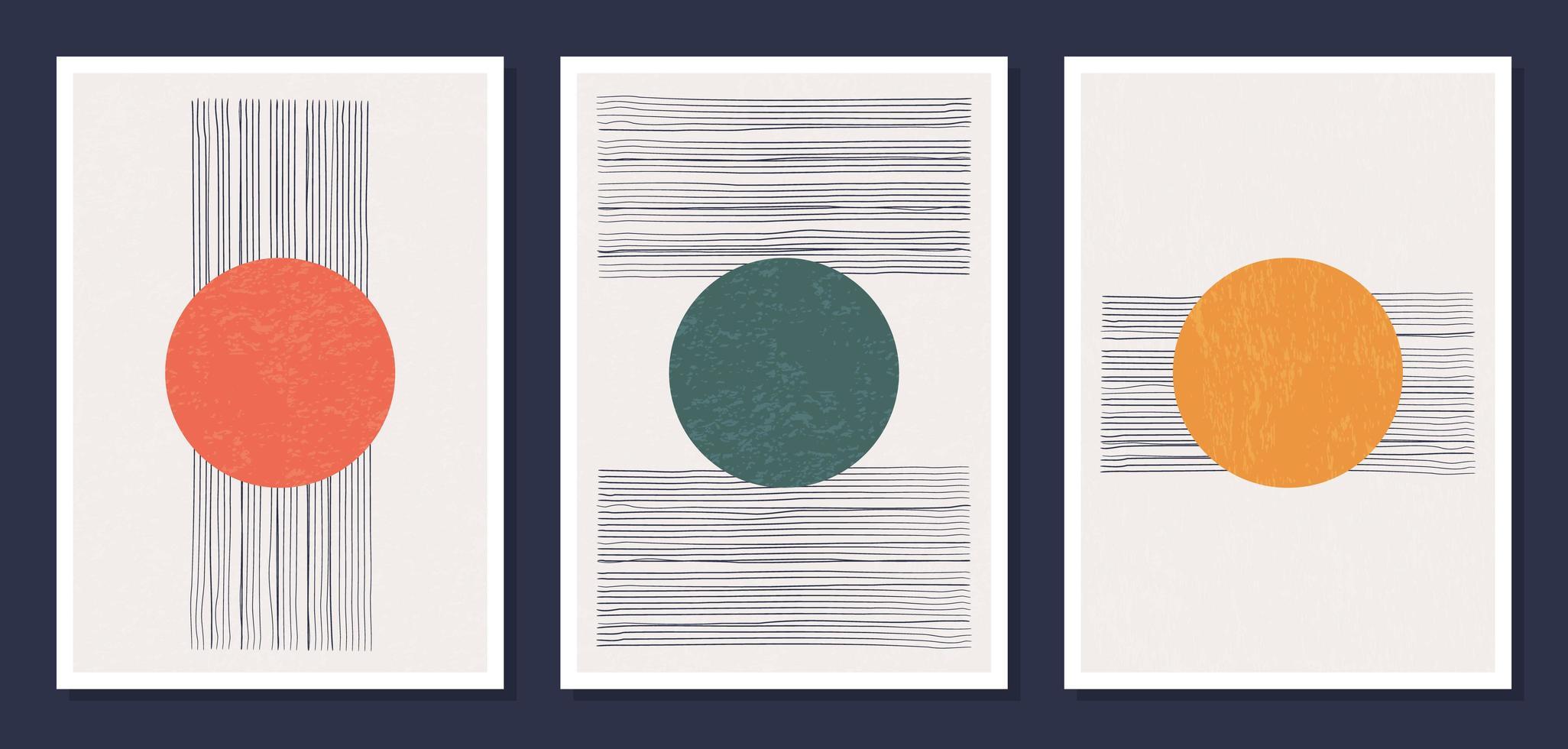 minimalistische geometrische Vektorgrafik-Wandplakate. Satz von minimalen 20s geometrischen abstrakten zeitgenössischen Plakaten Vektor-Vorlage mit primitiven Formen Elemente ideal für die Wanddekoration modernen Hipster-Stil vektor