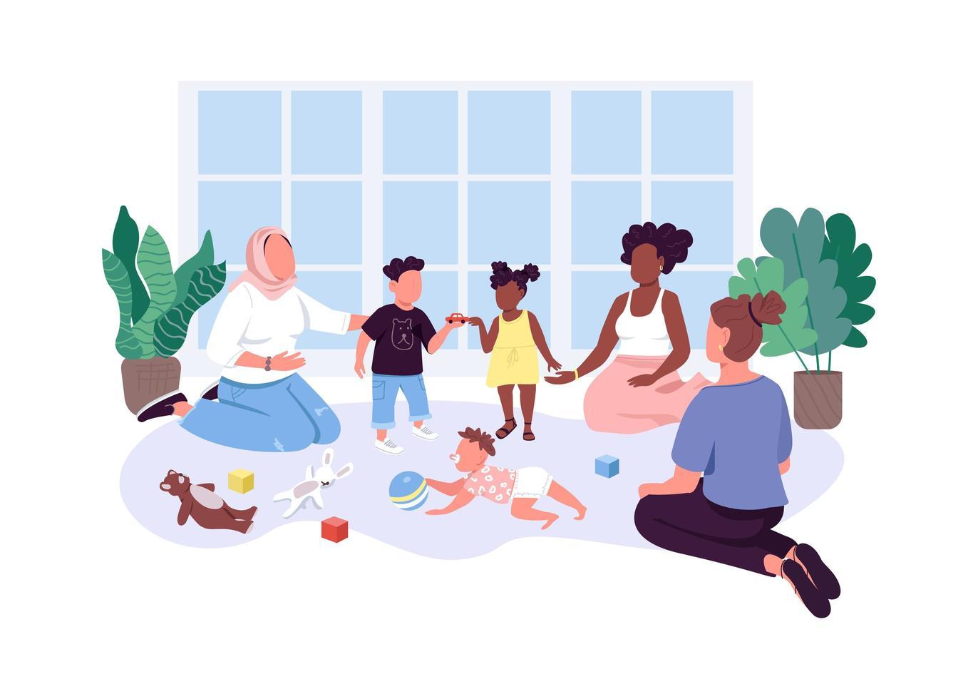mamma-baby grupp platt färg vektor ansiktslösa tecken