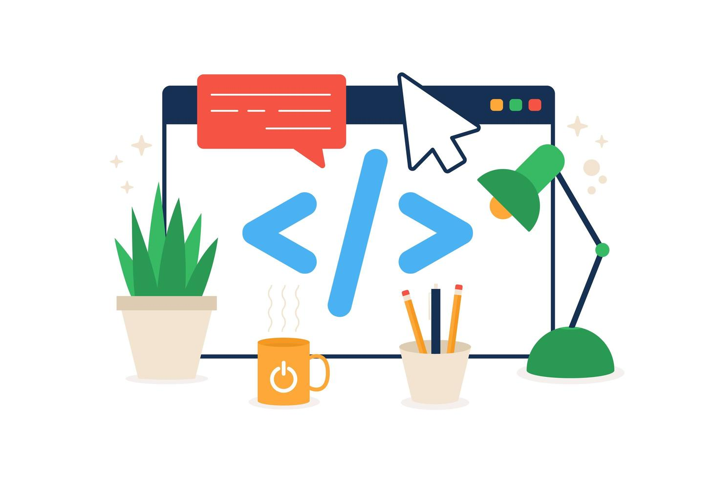 Code im Browsersymbol. Element des Cyber-Sicherheitssymbols für mobile Konzepte und Web-Apps. Der farbige Code im Browsersymbol kann für die flache Darstellung von Web- und mobilen Vektoren verwendet werden