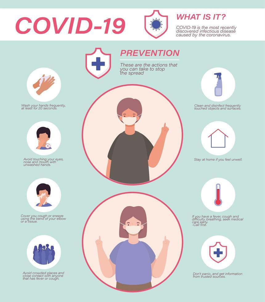 covid 19 virusförebyggande tips kvinna och man avatar med masker vektordesign vektor