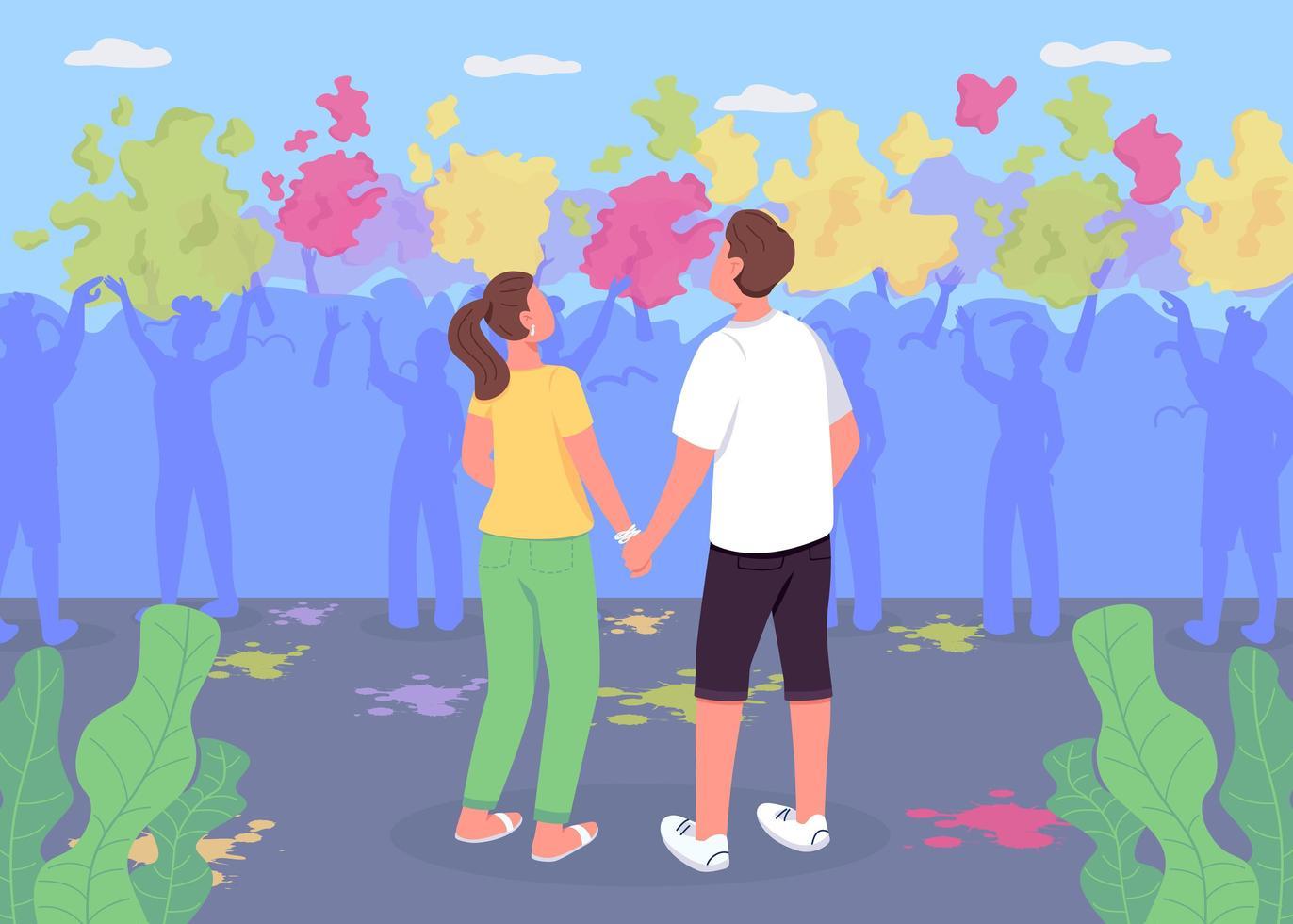 Paar bei Holi Fest flache Farbvektorillustration vektor