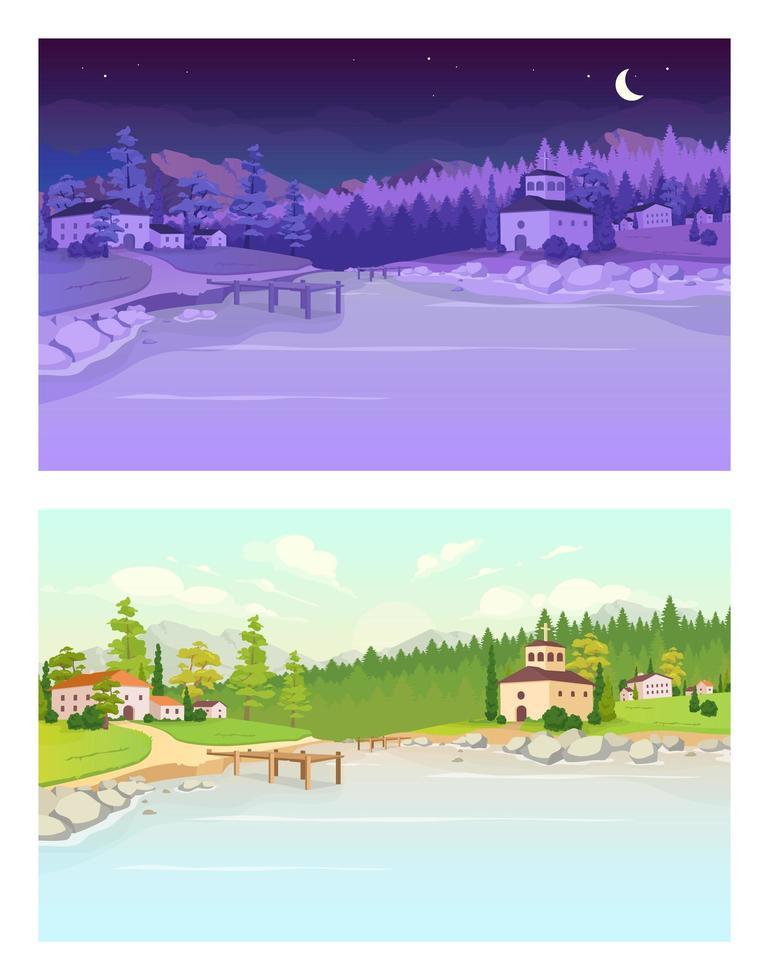 dag och natt by platt färg vektorillustration vektor