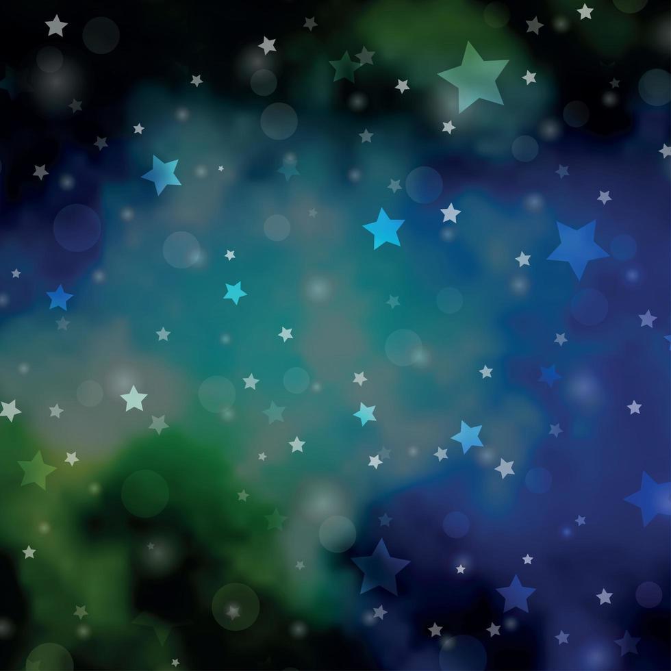 ljusblå, grön vektorbakgrund med cirklar, stjärnor. vektor