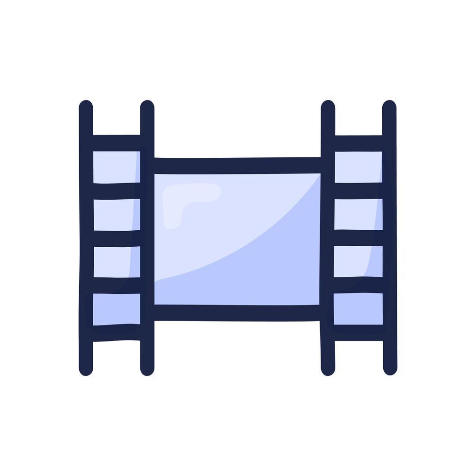 film videofilm enkel dispositionsfärg ikon isolerad på vitt. hand Rita tecknad vektorillustration vektor