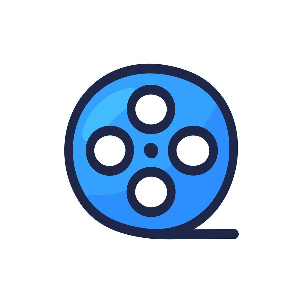 Video-Film oder Filmrolle einfache Umrissfarbe Symbol auf weiß isoliert. Cartoon Hand zeichnen Vektor-Illustration vektor